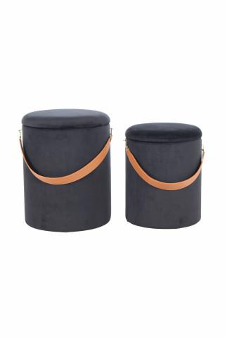 Set 2 tabureti tapitati cu spatiu pentru depozitare Arabella gri inchis/maro