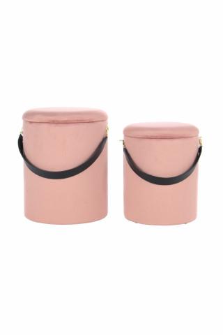 Set 2 tabureti tapitati cu spatiu pentru depozitare Arabella roz