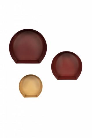 Set 3 etajere din fier 27cm / 31,5cm / 39,5cm x 26cm / 30cm / 37,5 cm roșu/ auriu