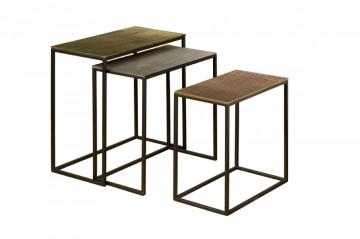Set 3 masute de cafea dreptunghiulare din metal 53x28x54 cm alama/gri/negru
