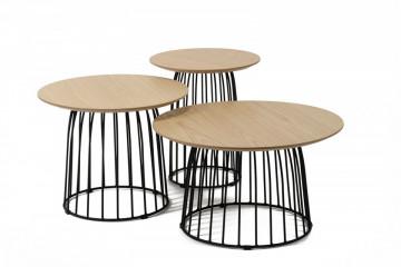 Set 3 masute de cafea rotunde din stejar 150x60x45 cm maro