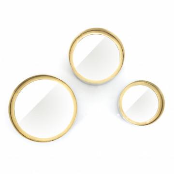 Set 3 oglinzi rotunde cu rama aurie 25,5x7 cm / 21x10 cm / 17x10 cm