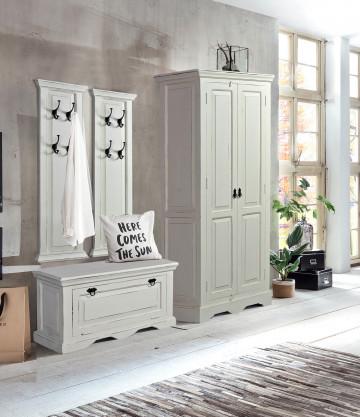 Set 4 piese mobilier pentru hol din lemn de mango/MDF Toledo alb