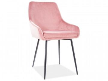 Set 4 scaune din catifea Albi roz/negru