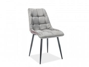 Set 4 scaune din catifea Chic gri/negru