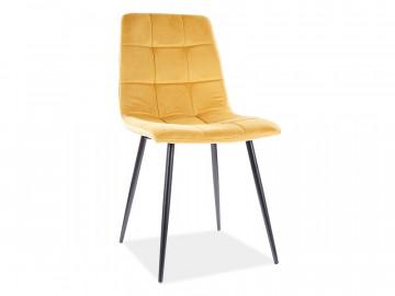 Set 4 scaune din catifea Mila galben/negru