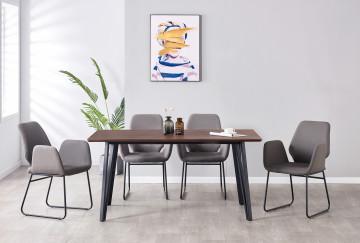 Set masa din MDF cu 4 scaune din imitatie de piele 160x90x76 cm/60x60,5x89,5 cm maro/gri