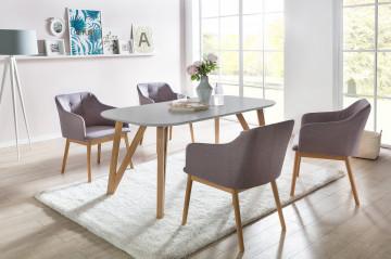 Set masa ovala din lemn cu 4 scaune tapitate 180x90 cm gri deschis