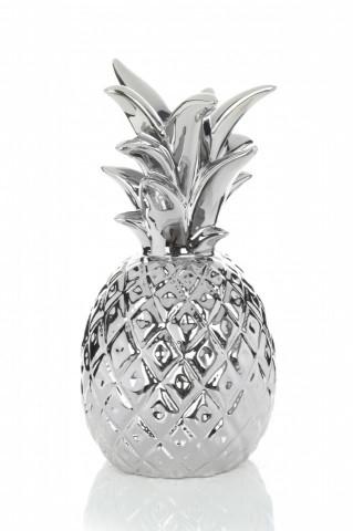 Suport lumanare din metal Pineapple, argintiu