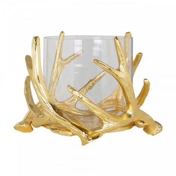 Suport lumanare din sticla Harvey, gold