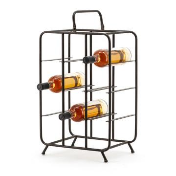 Suport pentru vin din fier negru, 9 sticle