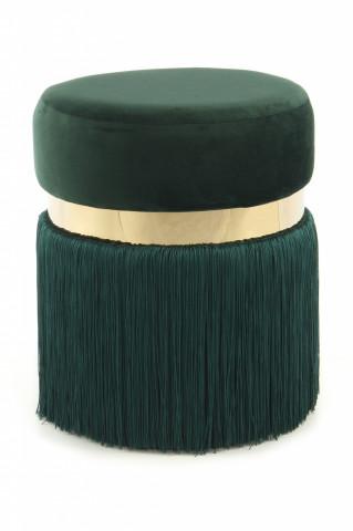 Taburet tapitat cu ciucuri Rebecca verde / auriu