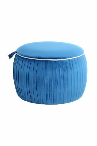 Taburet tapitat cu spatiu pentru depozitare Adoree albastru