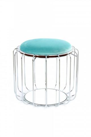 Taburet tapitat/masuta de cafea rotund/a Comfortable 50x50x45 cm albastru deschis
