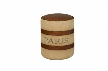 Taburet tapitat sub forma de cilindru Renew maro/bej