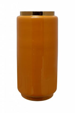 Vaza din fier Art Deco, galben / auriu 15x15x30 cm