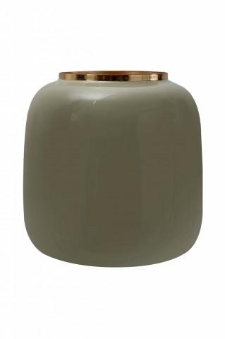 Vaza din fier Art Deco, verde / auriu