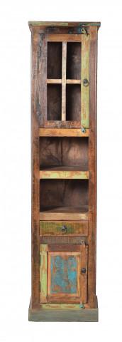 Vitrina din lemn reciclat Riverboat, multicolor, 44x189 cm