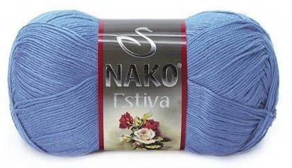 Poze Fir de tricotat sau crosetat - Fire amestec Bumbac + Bambus NAKO ESTIVA ALBASTRU 4834