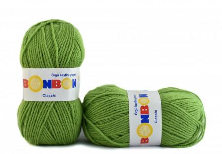 Poze Fir de tricotat sau crosetat - Fire tip mohair din acril BONBON CLASIC VERDE 98204
