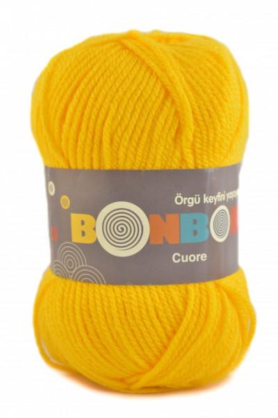 Poze Fir de tricotat sau crosetat - Fire tip mohair din acril BONBON CUORE - GALBEN - 98598