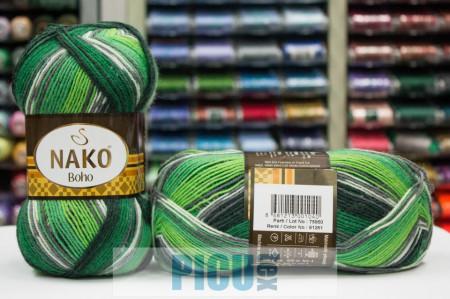Poze Fir de tricotat sau crosetat - Fire tip mohair din lana si polyamida Nako BOHO mix 81261