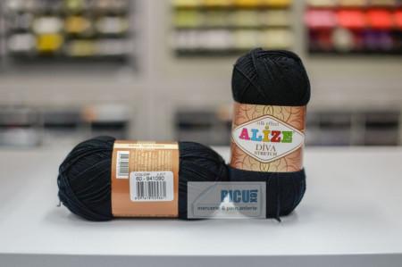 Poze Fir de tricotat sau crosetat - Fir microfibra ALIZE DIVA STRETCH NEGRU 60