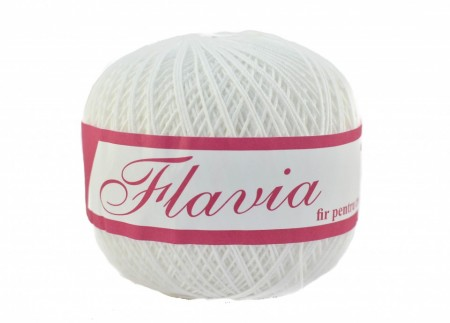 Poze Fir de tricotat sau crosetat - Fire Bumbac 100% FLAVIA ROMANOFIR BOBINA ALB 1202