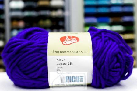 Poze Fir de tricotat sau crosetat - Fire tip mohair din acril AMICA ALBASTRU - 338