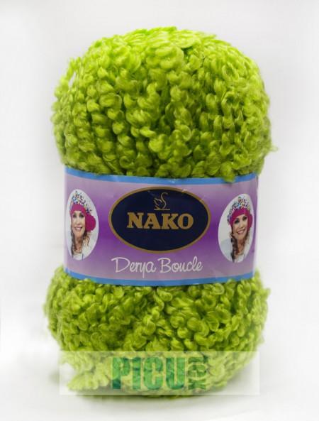 Poze Fir de tricotat sau crosetat - Fire tip mohair din acril NAKO DERYA BOUCLE verde 6190