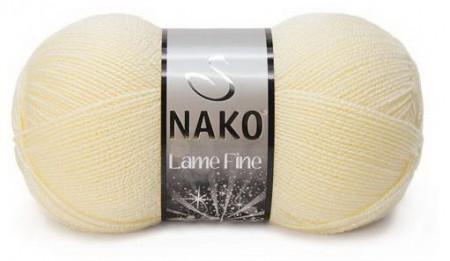 Poze Fir de tricotat sau crosetat - Fire tip mohair din acril si poliester metalic NAKO LAME FINE CREM 256SE