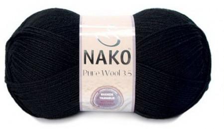 Poze Fir de tricotat sau crosetat - Fire tip mohair din lana 100% Nako PURE WOOL 3,5 Negru 217