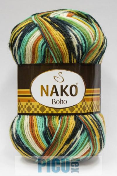 Poze Fir de tricotat sau crosetat - Fire tip mohair din lana si polyamida Nako BOHO mix 81263
