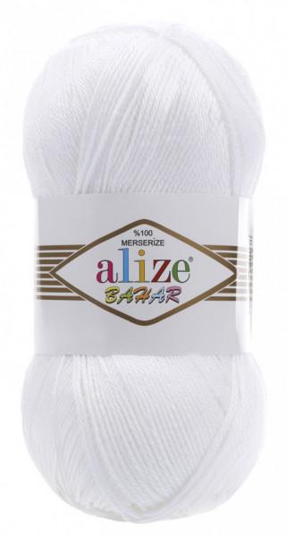 Poze Fir de tricotat sau crosetat - Fir BUMBAC 100% ALIZE BAHAR ALB 55