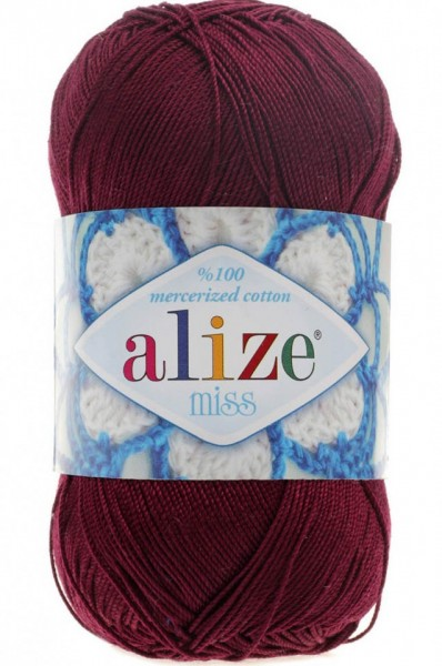 Poze Fir de tricotat sau crosetat - Fir BUMBAC 100% ALIZE MISS MOV BORDO 495