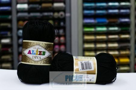 Poze Fir de tricotat sau crosetat - Fir microfibra ALIZE DIVA NEGRU 60