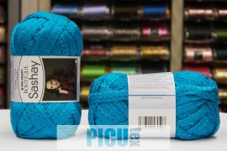 Poze Fir de tricotat sau crosetat - Fire pretricotate esarfa SASHAY albastru S 1502
