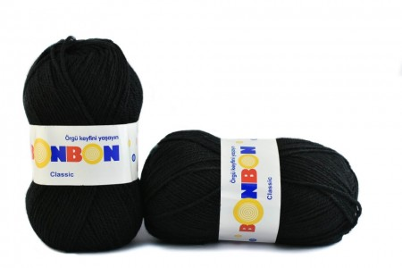 Poze Fir de tricotat sau crosetat - Fire tip mohair din acril BONBON CLASIC NEGRU 98206