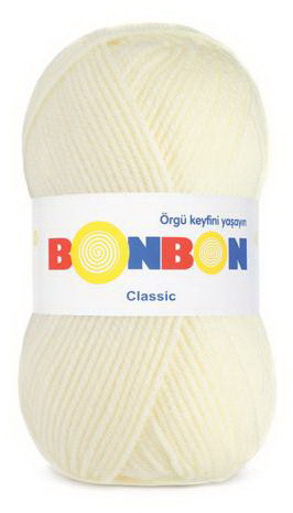 Poze Fir de tricotat sau crosetat - Fire tip mohair din acril BONBON CLASIC CREAM 98223