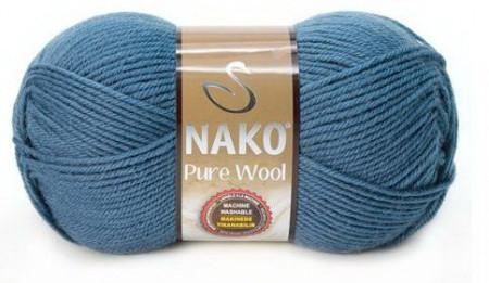 Poze Fir de tricotat sau crosetat - Fire tip mohair din lana 100% Nako PURE WOOL ALBASTRU 2796