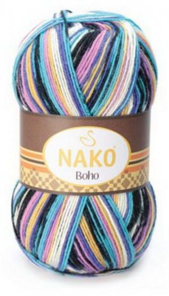 Poze Fir de tricotat sau crosetat - Fire tip mohair din lana si polyamida Nako BOHO mix 81264