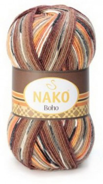 Poze Fir de tricotat sau crosetat - Fire tip mohair din lana si polyamida Nako BOHO mix 81257