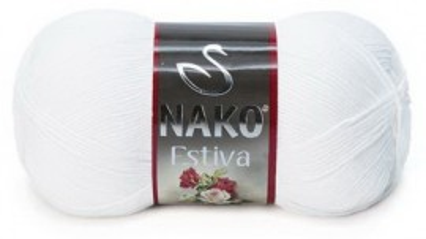 Poze Fir de tricotat sau crosetat - Fire amestec Bumbac + Bambus NAKO ESTIVA ALB 208