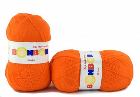 Poze Fir de tricotat sau crosetat - Fire tip mohair din acril BONBON KRISTAL portocaliu 98215