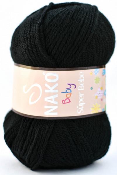 Poze Fir de tricotat sau crosetat - Fire tip mohair din acril Nako SUPER BEBE NEGRU 217