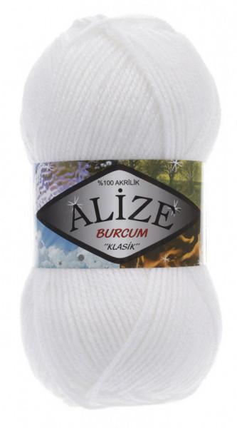 Poze Fir de tricotat sau crosetat - Fir ACRILIC ALIZE BURCUM KLASIK ALB 55