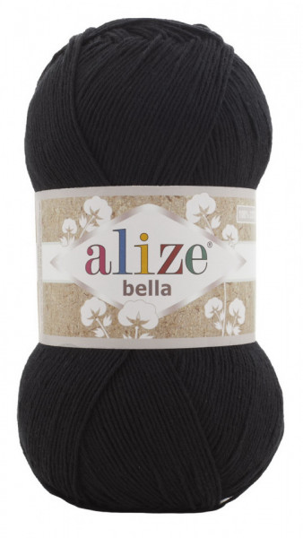 Poze Fir de tricotat sau crosetat - Fir BUMBAC 100% ALIZE BELLA 100 - NEGRU 60