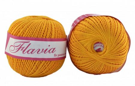 Poze Fir de tricotat sau crosetat - Fire Bumbac 100% FLAVIA ROMANOFIR BOBINA GALBEN 1313