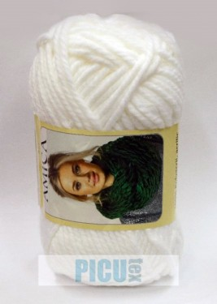 Poze Fir de tricotat sau crosetat - Fire tip mohair din acril AMICA ALB - 301