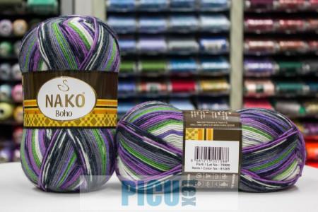 Poze Fir de tricotat sau crosetat - Fire tip mohair din lana si polyamida Nako BOHO mix 81265